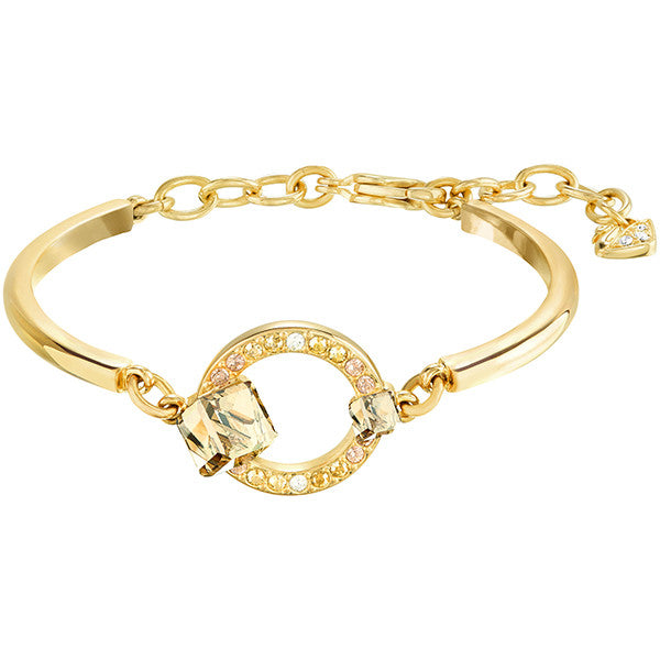 Swarovski Crystal Gold Tone Geometric Bangle Bracelet
