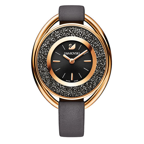 Swarovski Crystal Brown Leather Rose Tone Watch