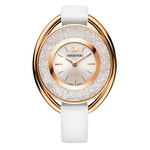 Swarovski Crystal White Leather Rose Tone Watch