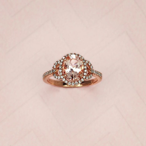 ROSE GOLD DIAMOND AND MORGANITE RING RIN-LGM-2741