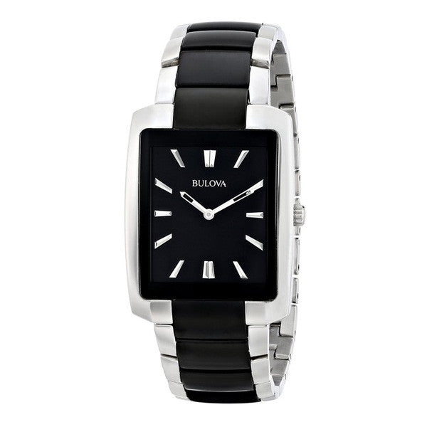 Bulova Mens Black and Silver Tone Watch