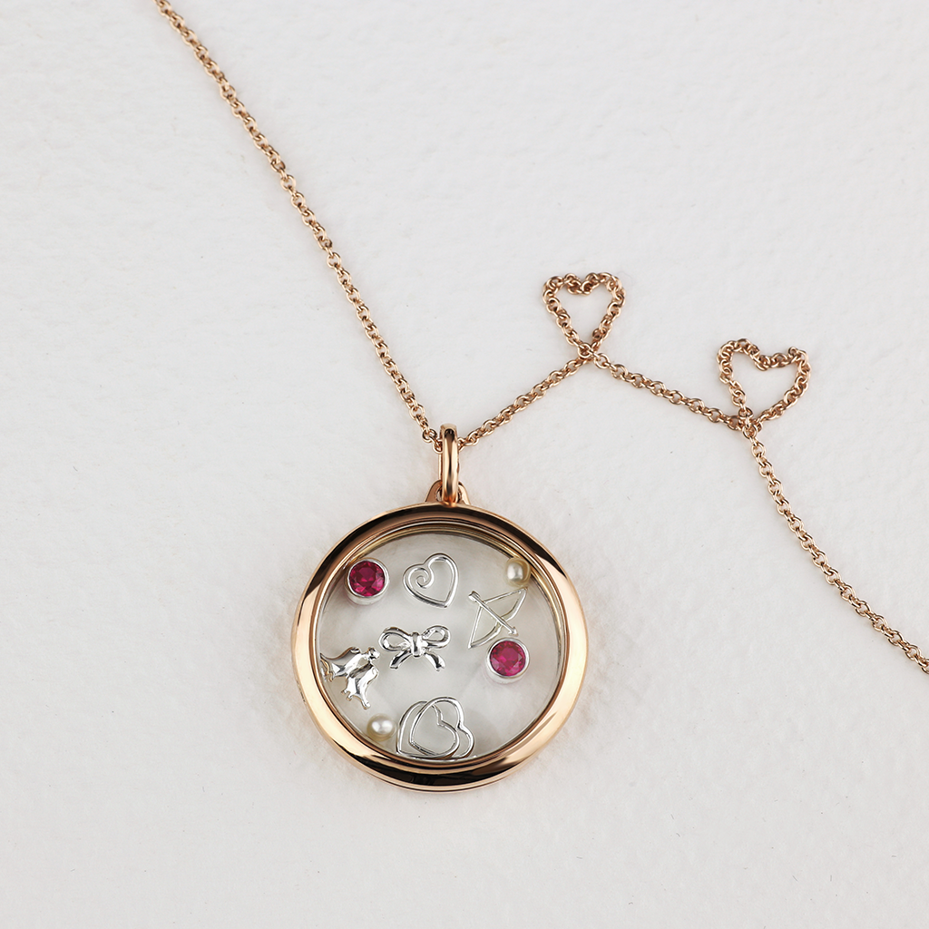 Stow Lockets 28mm classic rose gold locket necklace