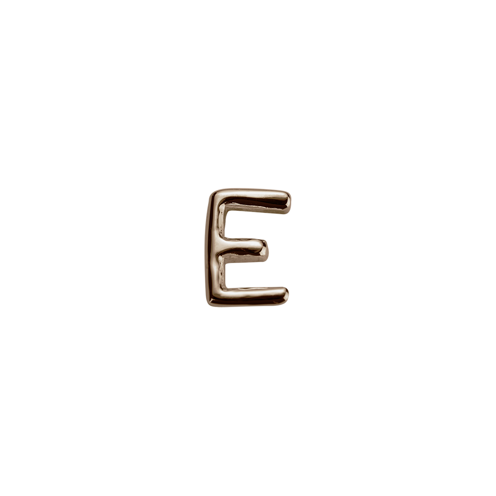 Stow Lockets solid Rose Gold E letter charm