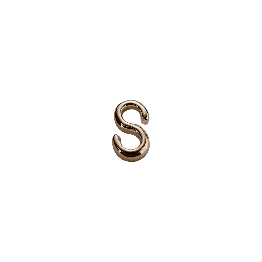 Stow Lockets solid Rose Gold S letter charm