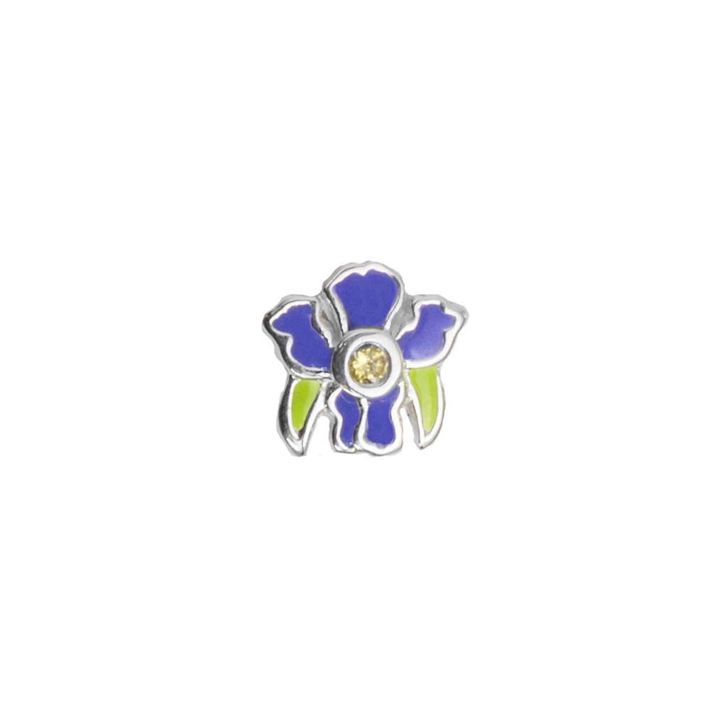 February Iris - Wisdom birth flower enamel charm