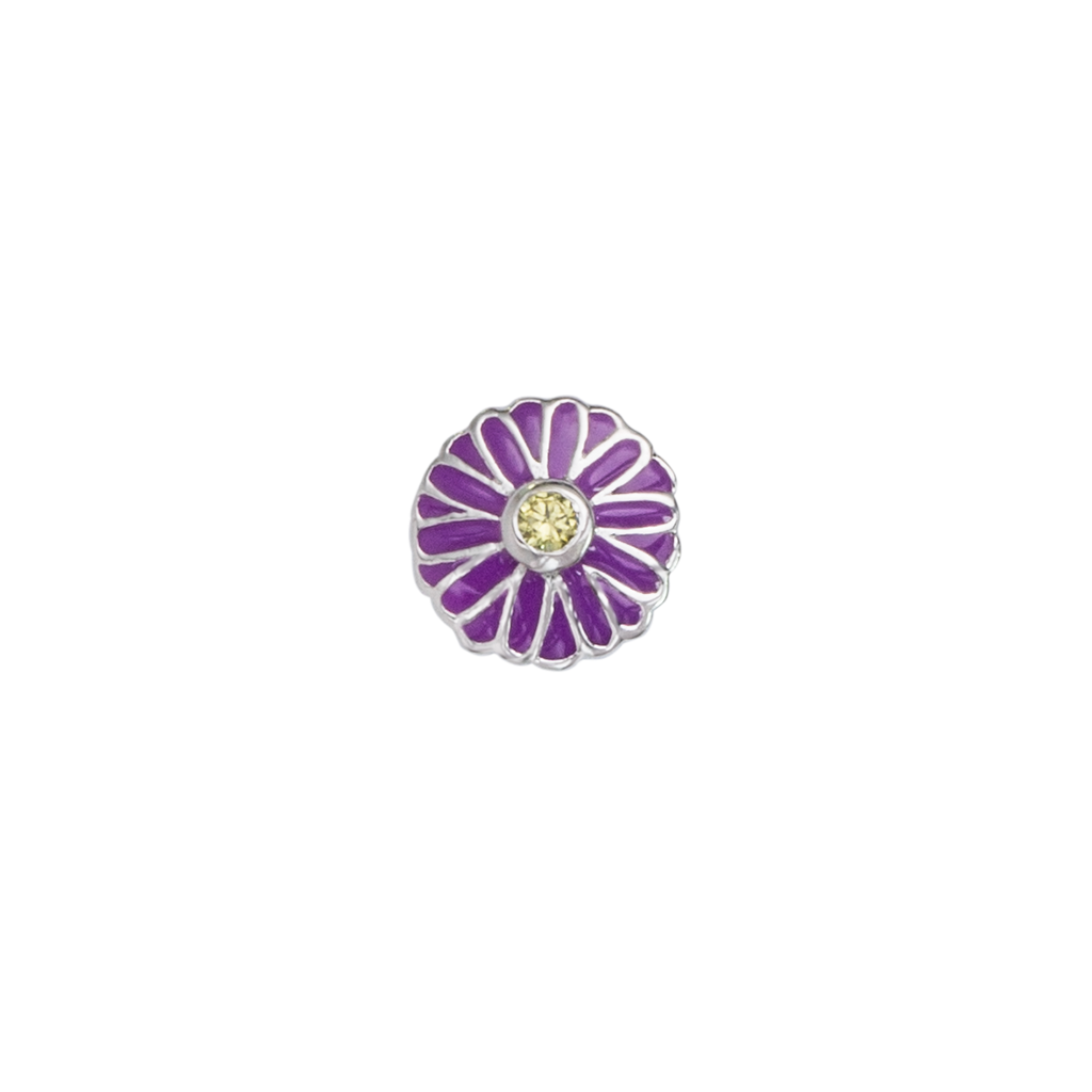 September Aster - Elegance birth flower enamel charm