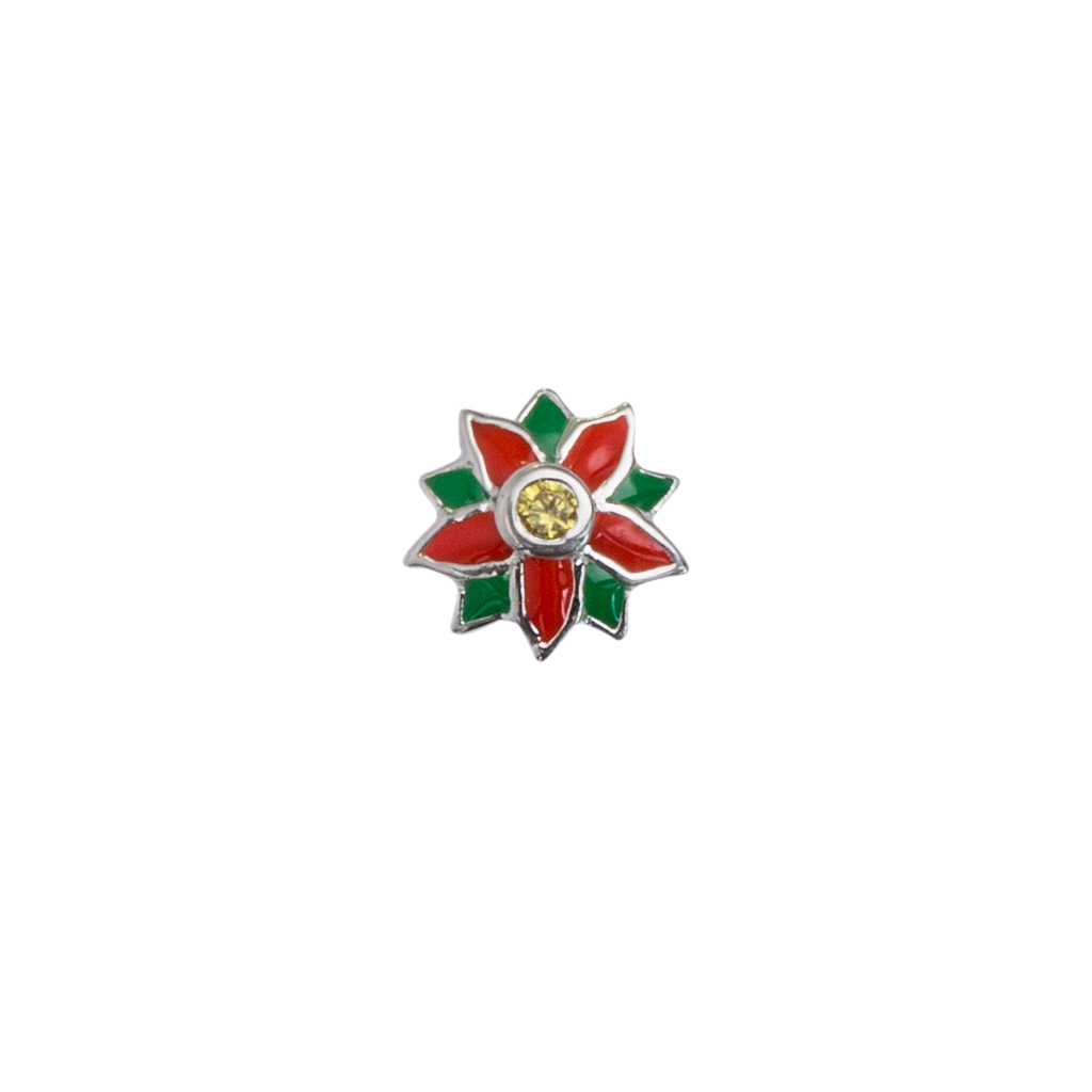 Stow Lockets December Poinsettia - Cherished birth flower enamel charm