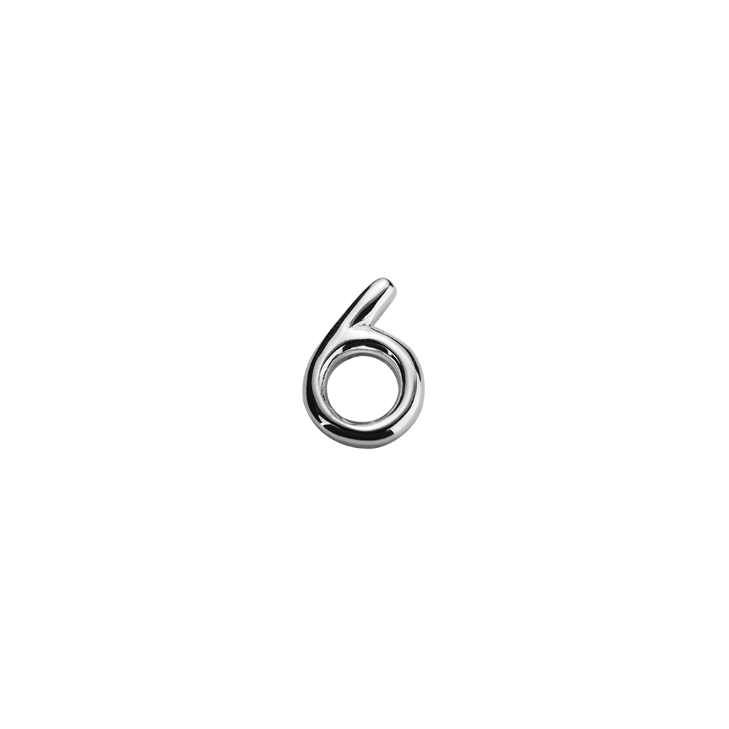 Stow Lockets sterling silver number 6 charm