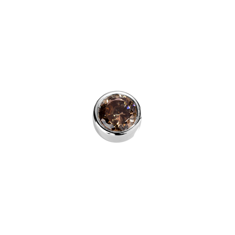Stow Lockets sterling silver Strength - Brown Topaz CZ charm