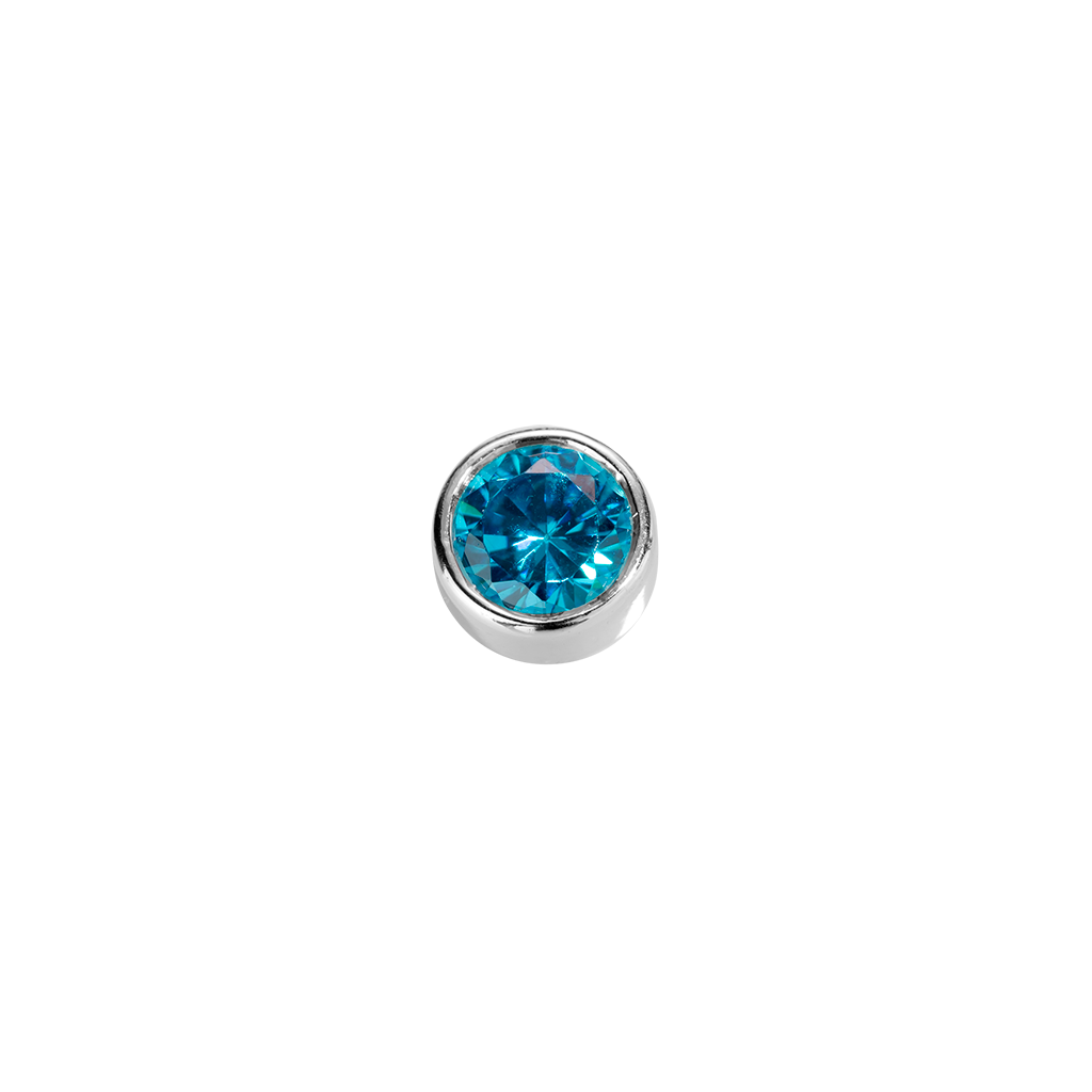 Stow Lockets sterling silver Friendship - Blue Topaz CZ charm