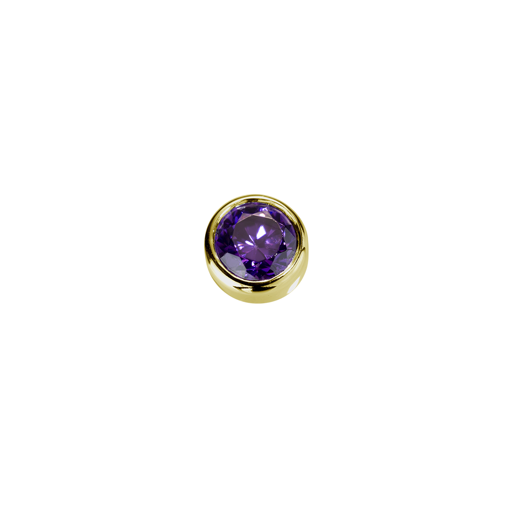 Stow Lockets solid 9ct Gold Tranquillity - Amethyst CZ charm