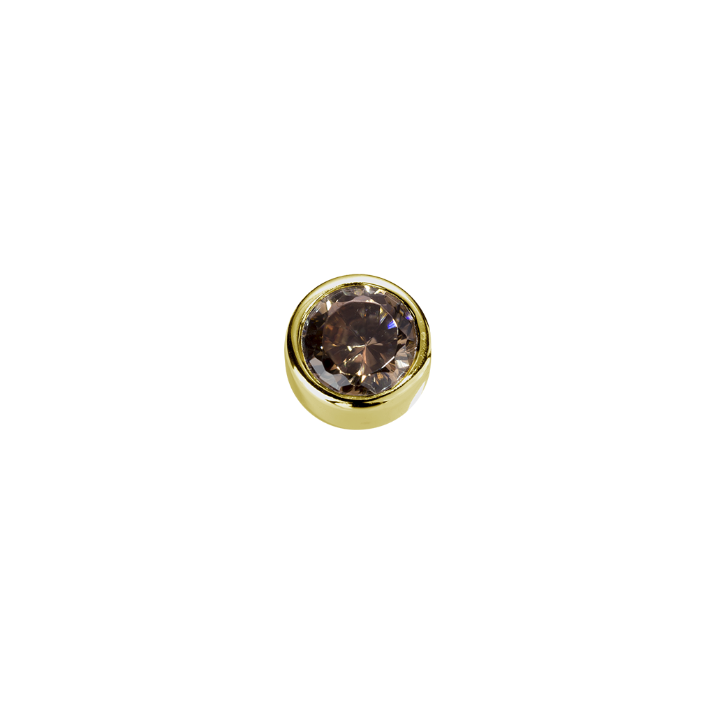 Stow Lockets solid 9ct Gold Strength - Brown Topaz CZ charm