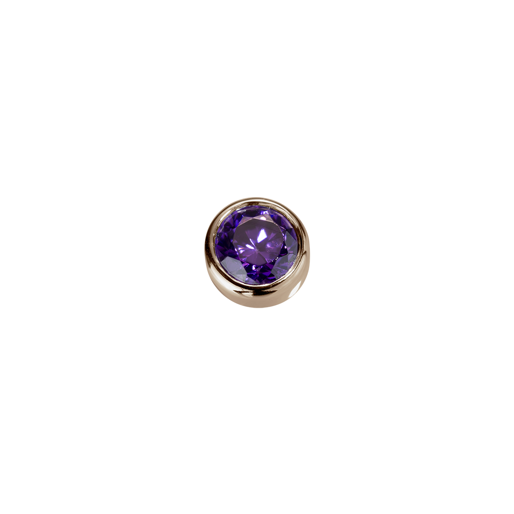 Stow Lockets solid Rose Gold Tranquillity - Amethyst CZ charm