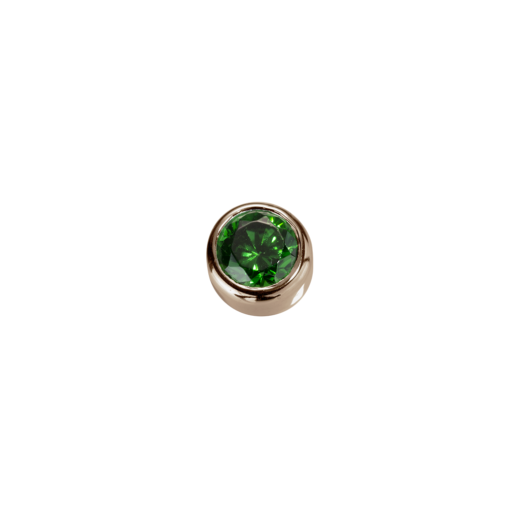 Rose Gold Balance - Emerald CZ charm