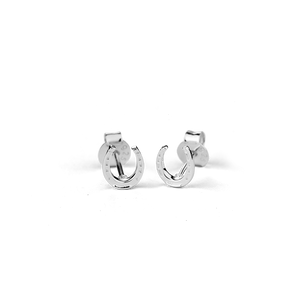 Stow Lockets sterling silver Lucky Horseshoe stud earrings