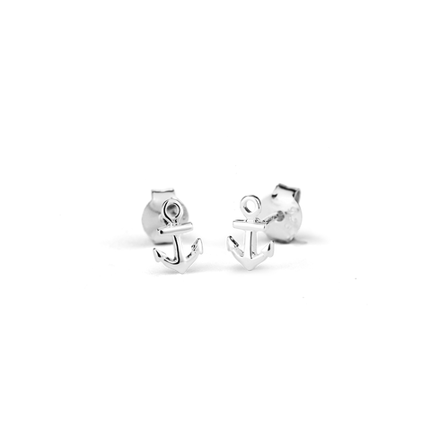 Anchor Stow silver stud earrings