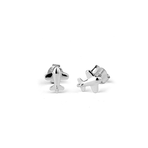 Stow Lockets sterling silver Aeroplane stud earrings