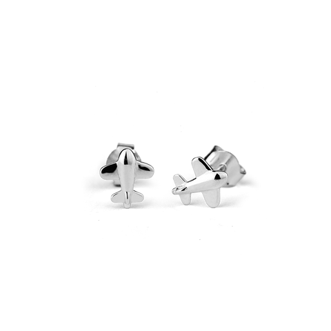 Aeroplane stow silver stud earrings