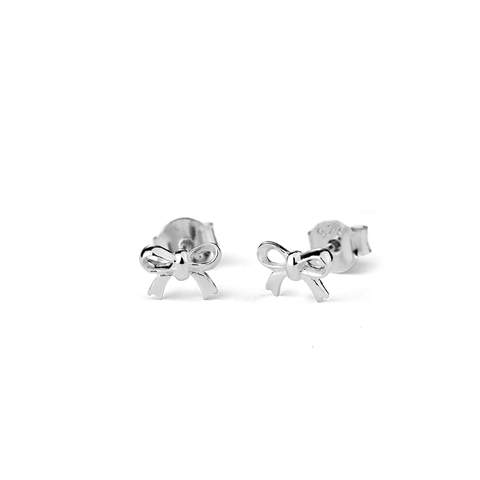 Bow Stow silver stud earrings