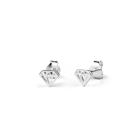 Diamond Stow silver stud earrings