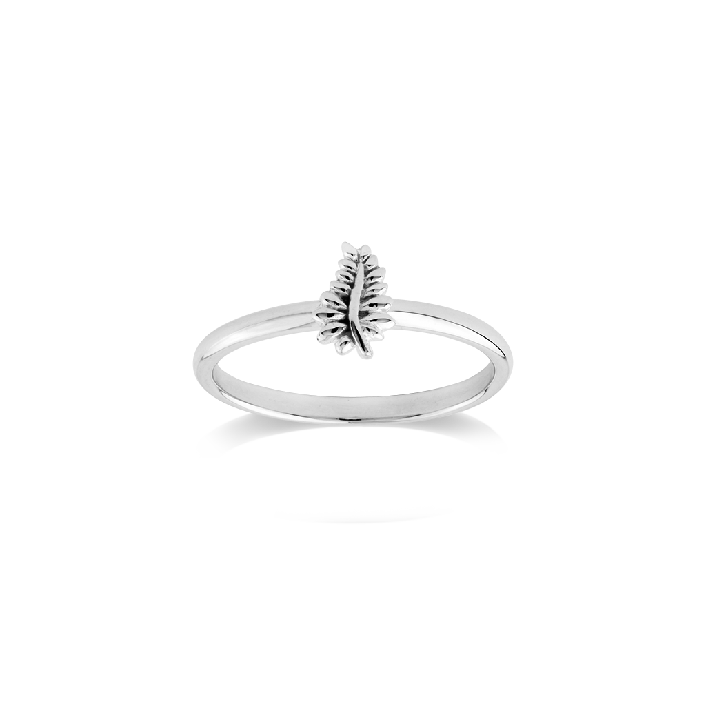 Stow Lockets sterling silver NZ Fern stacker ring - Loyal