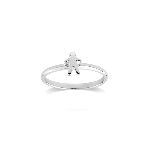 Stow Lockets sterling silver Stowaway Boy stacker ring - Heroic