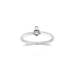 Stow Lockets sterling silver Anchor stacker ring - Strength
