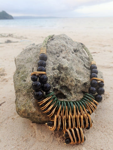 Tribal Necklace in Gold, Green and Black