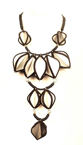 Dark Brown & Silver Petal Necklace