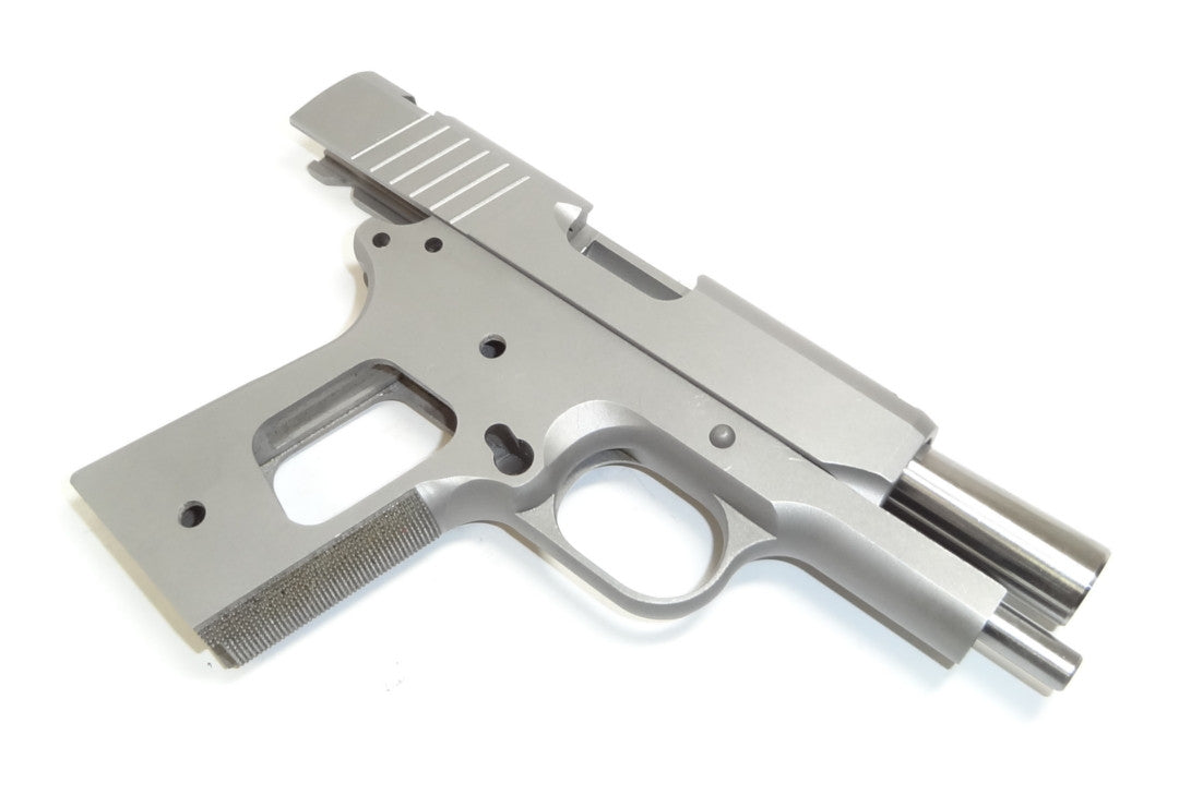 1911 80 officer build kit 35 45 acp ramped barrel forged 416r frame and slide wcheckered grip para cut slide
