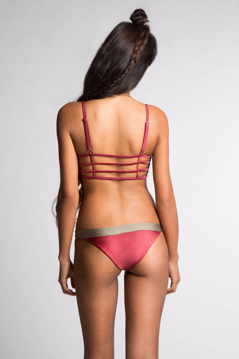 June Swimwear Brooklyn Bikini Bottom Burgundy / Taupe