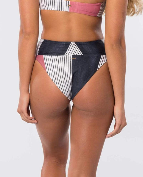Rip Curl Open Road High Waisted Cheeky Bikini Bottom Rust