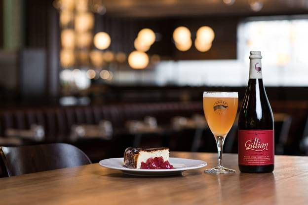 Pictured: Chef Hidde Zomer's Burnt Basque Cheesecake and 2016 Goose Island Gillian Photo credit: Evan Bergstra