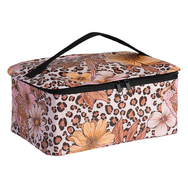 Toiletry Stash Bag Leopard Floral