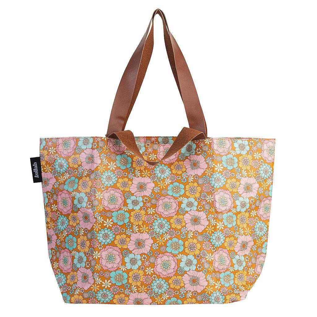 Shopper Tote Retro Aqua Floral - NEW!