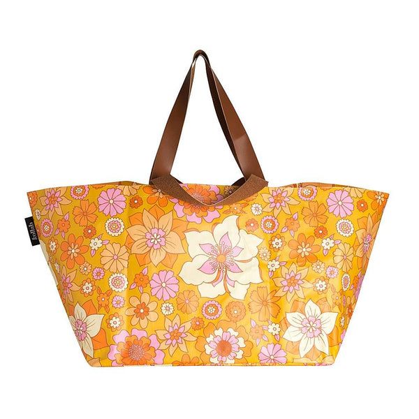 Beach Bag Retro Mustard Floral - NEW!