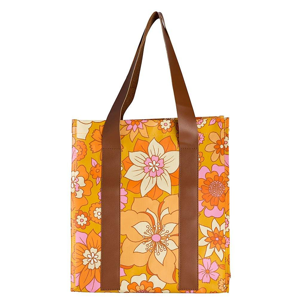 Market Bag Retro Mustard Floral - NEW! PRE-ORDER: FEB DELIVERY!