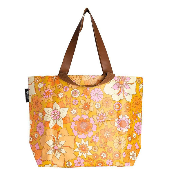 Shopper Tote Retro Mustard Floral - NEW!