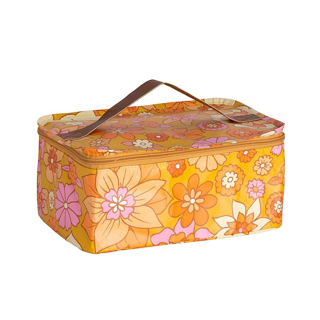 Toiletry Stash Bag Retro Mustard Floral
