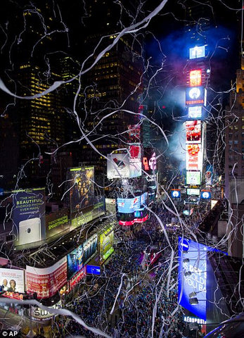 X-Streamers Streamer Flick Sticks create Spider-man's webs over Times Square on New Year's Eve.