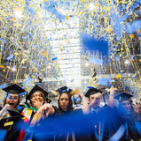 Biodegradable confetti and streamers in school colors for graduation, cheer, rally, booster