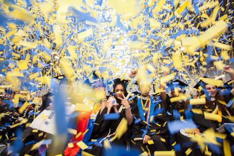 X Streamers confetti effects launch at Pace University graduation, NY