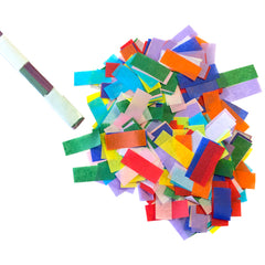 biodegradable confetti slowfall rectangles in cannon sleeve
