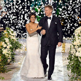 Biodegradable rose petals cascade during The Bachelor live TV wedding