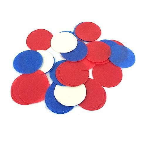Times Square Confetti & Kabuki Confetti Confetti Circles: Patriotic Red, White and Blue Tissue, in Bulk