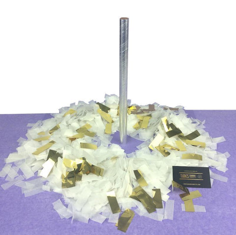 Times Square Confetti & Kabuki Confetti Gold & White / Single / Metallic Tissue Mix Confetti Flick Sticks: Flashy Gold, Rose Gold or Silver - Bulk Discount Bundles