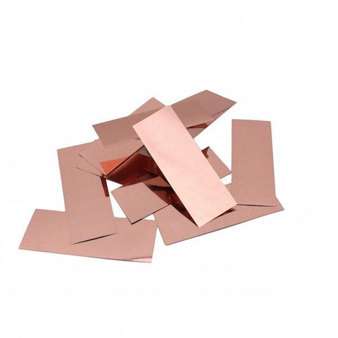 Times Square Confetti & Kabuki Confetti Metallic Confetti: Rose Gold Copper Fluttering Rectangles, in Bulk