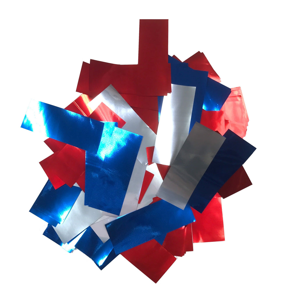 Times Square Confetti & Kabuki Confetti Red Silver Blue Metallic Confetti: Patriotic Red, Silver, Blue Fluttering Rectangles, in Bulk