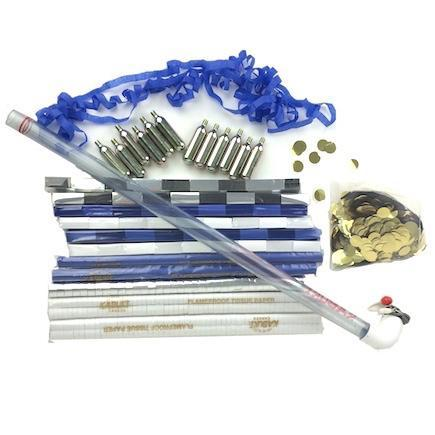 Times Square Confetti & Kabuki Confetti & Streamer Kit Blue Silver White Confetti & Streamer Launch Kit - Midnight Sparkles