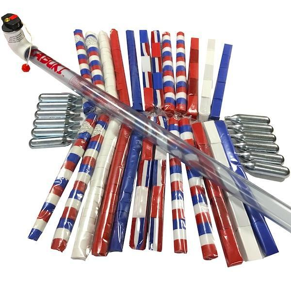 Times Square Confetti & Kabuki Confetti & Streamer Kit Red White Blue / 12-launch kit / Biodegradable Tissue Parade Confetti and Streamer 12-Launch Starter Kit: Red, White, Blue